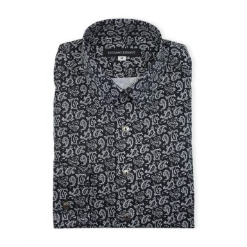 Black Paisley Casual Shirt For Men