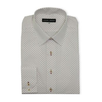 Ridolfi White Dotted Casual Shirt For Men