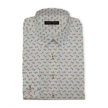 White Floral Casual Shirt For Men