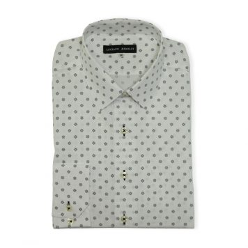 White Geometric Casual Shirt For Men