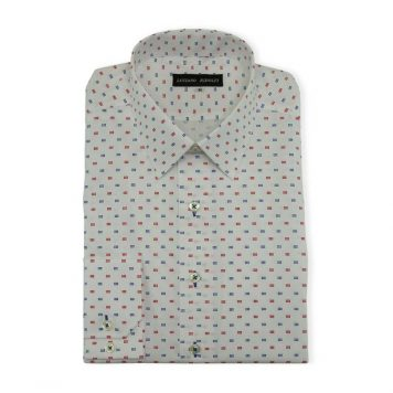 Ridolfi White Geometric Casual Shirt For Men