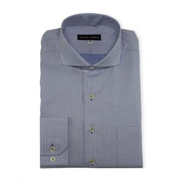 Ridolfi Blue Geometric Dress Shirt For Men