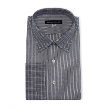 Ridolfi Grey Striped Engineered Shirt For Men