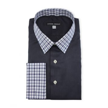 Ridolfi Plain Navy Engineered Shirt For Men
