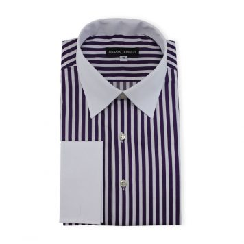 Ridolfi Purple Striped Engineered Shirt For Men