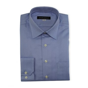 Ridolfi Blue Herringbone Dress Shirt For Men