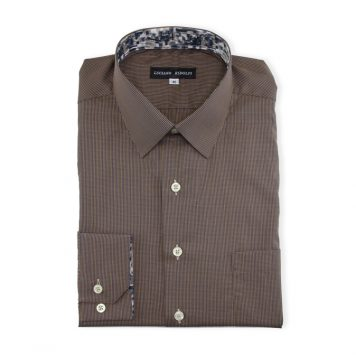 Ridolfi Brown Micro Checked Casual Shirt For Men
