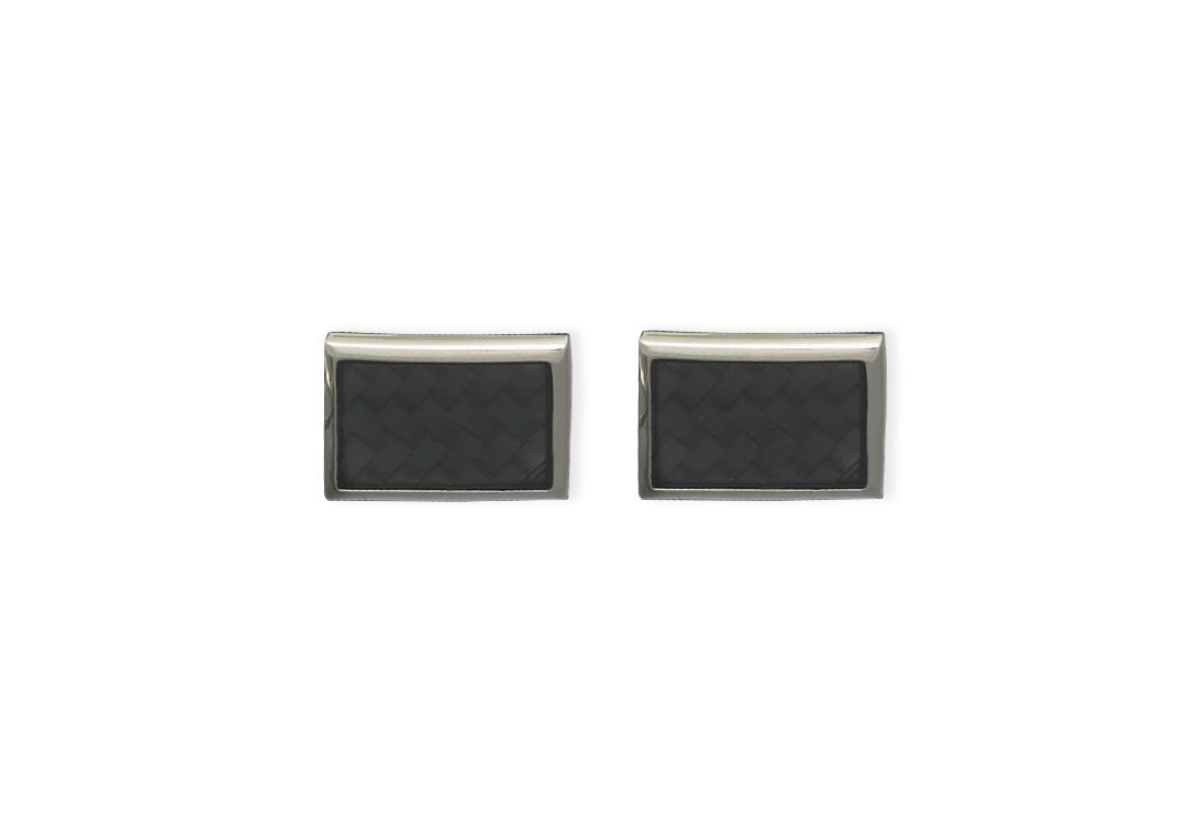 Weber Jewelry Silver Basket Weave Cuff Links