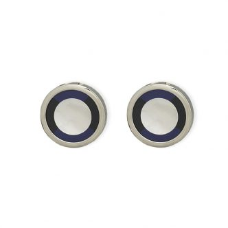 Weber Jewelry Silver Onyx And Mother Of Pearl Cuff Links
